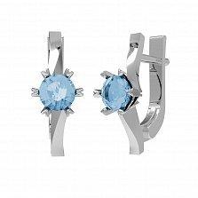 Серебряные серьги Янина с голубым топазом Sky Blue