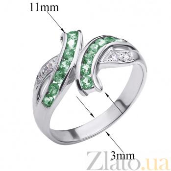 Золотое кольцо в белом цвете с изумрудами и бриллиантами Арника ZMX--RE-6116w_K