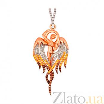 Золотой кулон Лебедушка в комбинированном цвете с разноцветными фианитами VLT--ТТТ3442-4