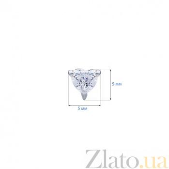 Серебряные серьги гвоздики Сердце  AQA--2202072/4