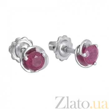 Серебряные пуссеты с рубинами Подарок 2087/9 рубин4