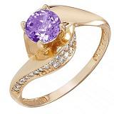 Золотое кольцо Монпелье с аметистом и фианитами