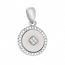 Серебряная подвеска Оригон с белой керамикой и фианитами