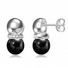 Серебряные серьги-пуссеты Камилла с черной керамикой и фианитами