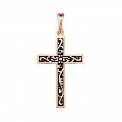 Крестик без распятия из красного золота с чернением 000134223