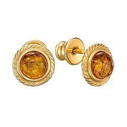 Серебряные серьги-пуссеты с янтарем 000149092