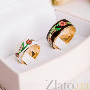 Эксклюзивное обручальное кольцо Беззаботное счастье с чёрными бриллиантами и эмалью 000026506