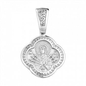 Серебряная ладанка Семистрельная Божья Матерь с родированием 000130868