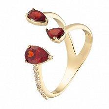 Золотое кольцо с гранатами и фианитами Альмира