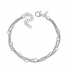 Серебряный многослойный браслет в плетении Попкорн 000124502