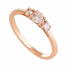 Кольцо из красного золота с фианитами Амира