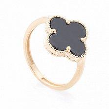 Золотое кольцо-клевер Габриэль с черным ониксом в стиле Ван Клиф