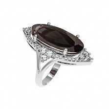 Серебряное кольцо Селина с раухтопазом и фианитами