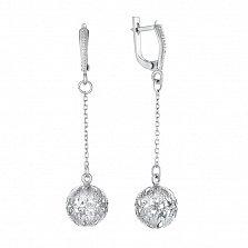 Серебряные серьги-подвески Хризантема с узорным шаром на цепочке