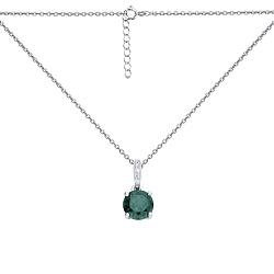 Серебряное колье Юки в якорном плетении с зеленым кварцем и белыми фианитами