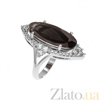 Серебряное кольцо Селина с раухтопазом и фианитами 000079692