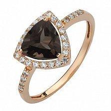 Золотое кольцо Габриэлла с раухтопазом и фианитами