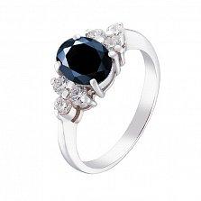 Серебряное кольцо Шарлотта с синтезированным сапфиром и фианитами