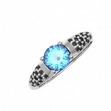 Серебряное кольцо Арт с кварцем танзанит и фианитами