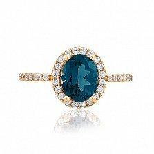 Золотое кольцо Альда с нано лондон топазом и фианитами