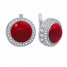 Серебряные серьги Барбара с красным кораллом и цирконием