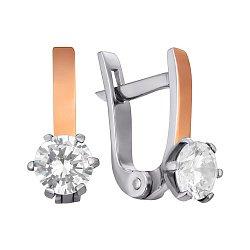 Серебряные серьги с фианитами и позолотой 000121380