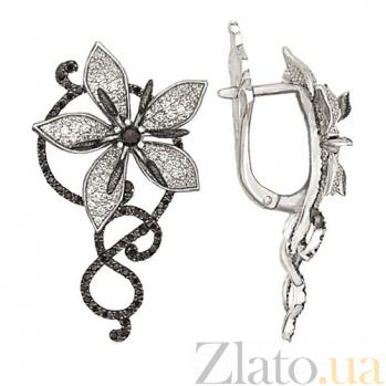 Серьги с белым и черным цирконием Королевская орхидея VLT--ТТ249