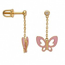 Золотые сережки-подвески Розовые бабочки в желтом цвете с эмалью и фианитом