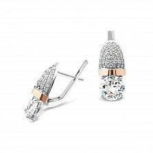 Серебряные серьги Бейонсе с золотыми накладками и фианитами