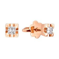 Серьги-пуссеты из красного золота с бриллиантами огранки принцесса 000088964