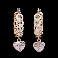 Золотые серьги-подвески Сила притяжения с цирконием в стиле Тиффани