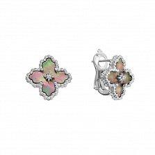 Серебряные серьги Загадочные цветы с перламутром и фианитами