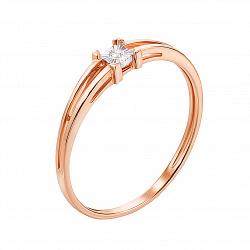 Кольцо с бриллиантом Летисия в красном цвете золоте