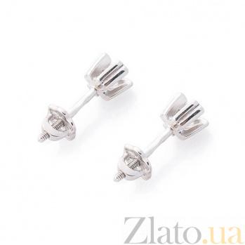 Серебряные серьги-пуссеты Тера с цирконием 000080177