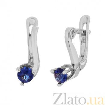 Серьги из серебра с синими фианитами Диляра SLX--С2ФС/091