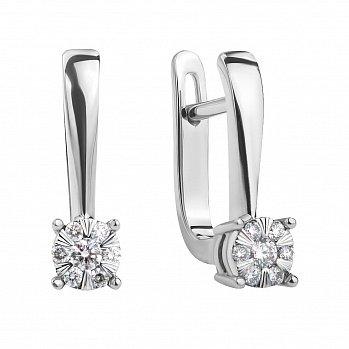 Золоті сережки в білому кольорі з діамантами 000117314