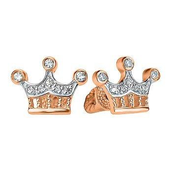 Золотые пуссеты-короны в комбинированном цвете с фианитами 000122964