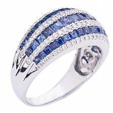 Золотое кольцо с бриллиантами и сапфирами Чистые ручьи