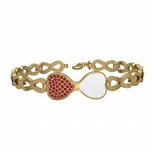 Браслет из желтого золота Два сердца с рубинами и белой эмалью