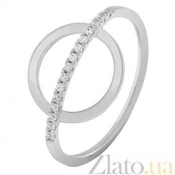 Золотое кольцо в белом цвете с фианитами Орбита 000032755