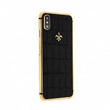 Apple IPhone X Noblesse DEEP BLACK в коже крокодила черного цвета и золоте