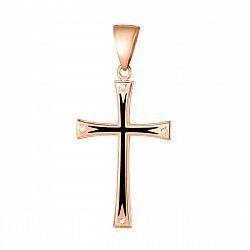 Крестик из красного золота с черной эмалью и фианитами 000133273