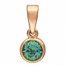 Кулон в красном золоте Фиона с синтезированным зеленым кварцем
