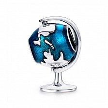 Серебряный шарм Крутящийся глобус с перламутровой темно-голубой эмалью в стиле Пандора