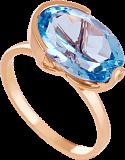 Золотое кольцо с голубым топазом Офелия