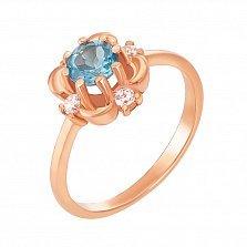 Кольцо из красного золота с топазом и фианитами 000132261