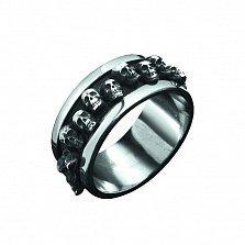 Серебряное черненное кольцо Призраки Дорог с командой черепов на шинке в байкерском стиле