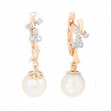 Золотые серьги-подвески Айва с жемчугом и бриллиантами