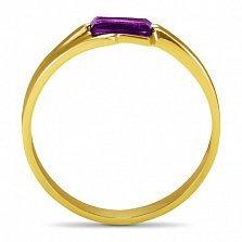 Кольцо из желтого золота Шенон с синтезированным аметистом