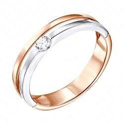 Золотое кольцо в комбинированном цвете с бриллиантом 000139153